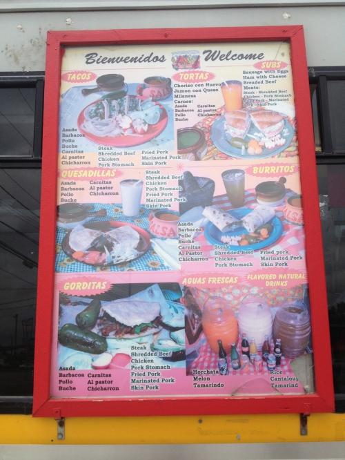 menu taqueria el paisa